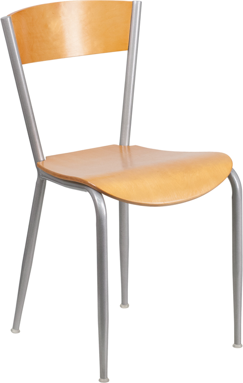 ERGONOMIC HOME TOUGH ENOUGH Series Metal Restaurant Chair - Natural Wood Back & Seat <b><font color=green>50% Off Read More Below...</font></b>