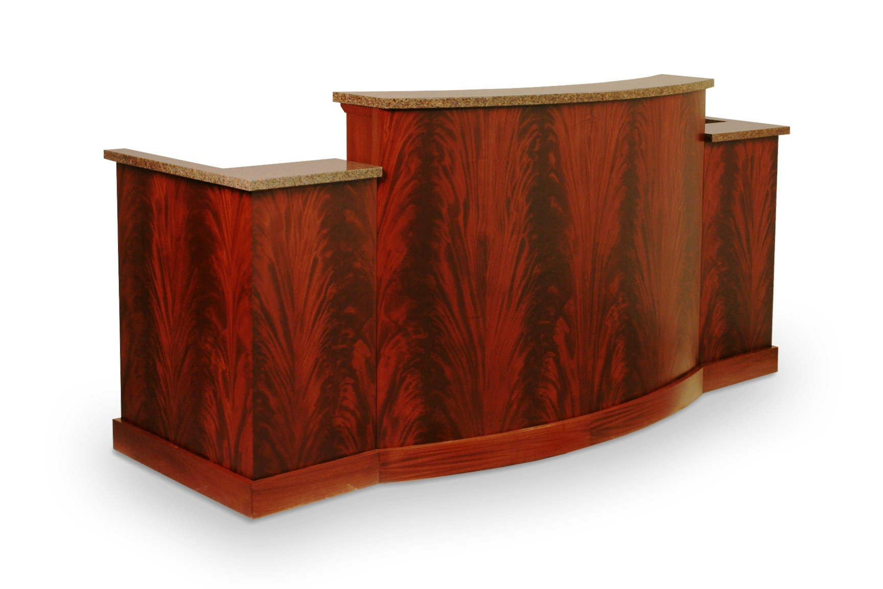 JUDGES DESK IN CROTCH MAHOGANY WOOD: