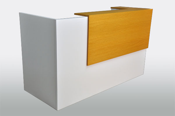 Korner Konnect White Reception Desk. Laminate chassis with wood grain laminate counter. Read More.