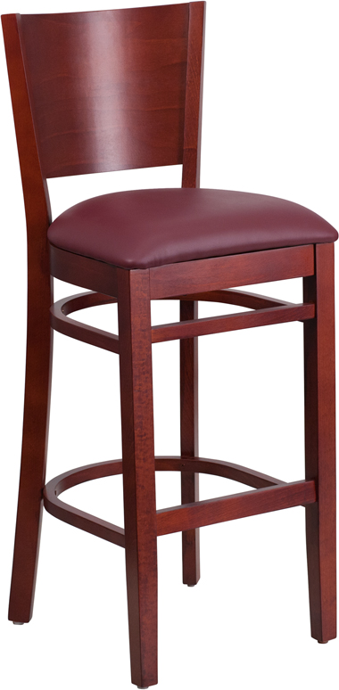 ERGONOMIC HOME TOUGH ENOUGH Series Solid Back Mahogany Wooden Restaurant Barstool - Burgundy Vinyl Seat <b><font color=green>50% Off Read More Below...</font></b>