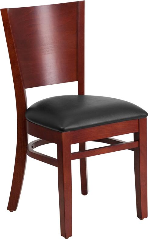 ERGONOMIC HOME TOUGH ENOUGH Series Solid Back Mahogany Wooden Restaurant Chair - Black Vinyl Seat <b><font color=green>50% Off Read More Below...</font></b>
