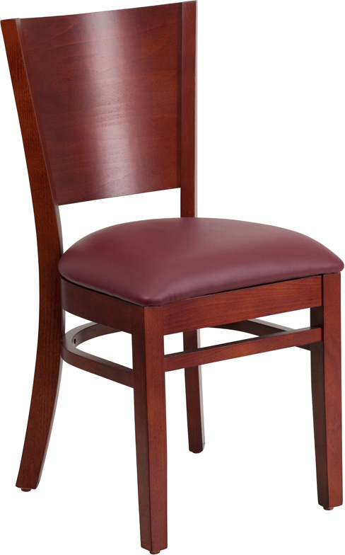 ERGONOMIC HOME TOUGH ENOUGH Series Solid Back Mahogany Wooden Restaurant Chair - Burgundy Vinyl Seat <b><font color=green>50% Off Read More Below...</font></b>