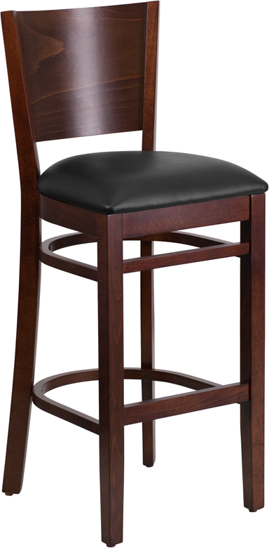 ERGONOMIC HOME TOUGH ENOUGH Series Solid Back Walnut Wooden Restaurant Barstool - Black Vinyl Seat <b><font color=green>50% Off Read More Below...</font></b>