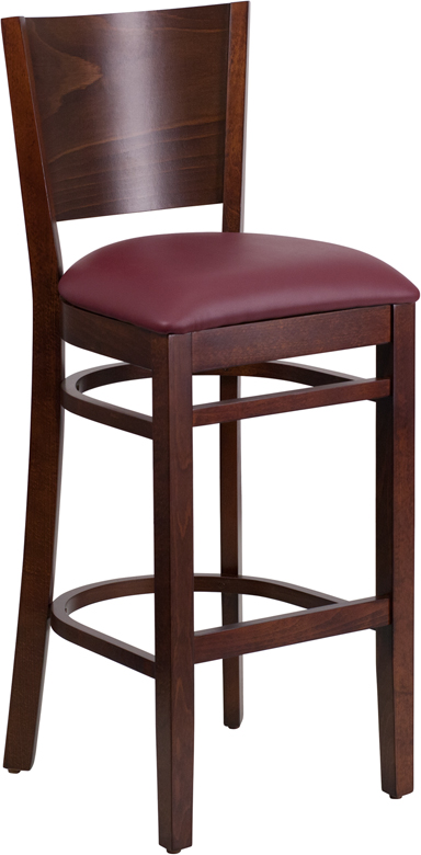 ERGONOMIC HOME TOUGH ENOUGH Series Solid Back Walnut Wooden Restaurant Barstool - Burgundy Vinyl Seat <b><font color=green>50% Off Read More Below...</font></b>
