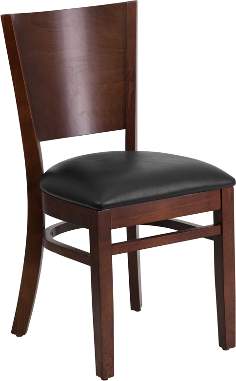 ERGONOMIC HOME TOUGH ENOUGH Series Solid Back Walnut Wooden Restaurant Chair - Black Vinyl Seat <b><font color=green>50% Off Read More Below...</font></b>