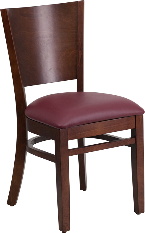 ERGONOMIC HOME TOUGH ENOUGH Series Solid Back Walnut Wooden Restaurant Chair - Burgundy Vinyl Seat <b><font color=green>50% Off Read More Below...</font></b>