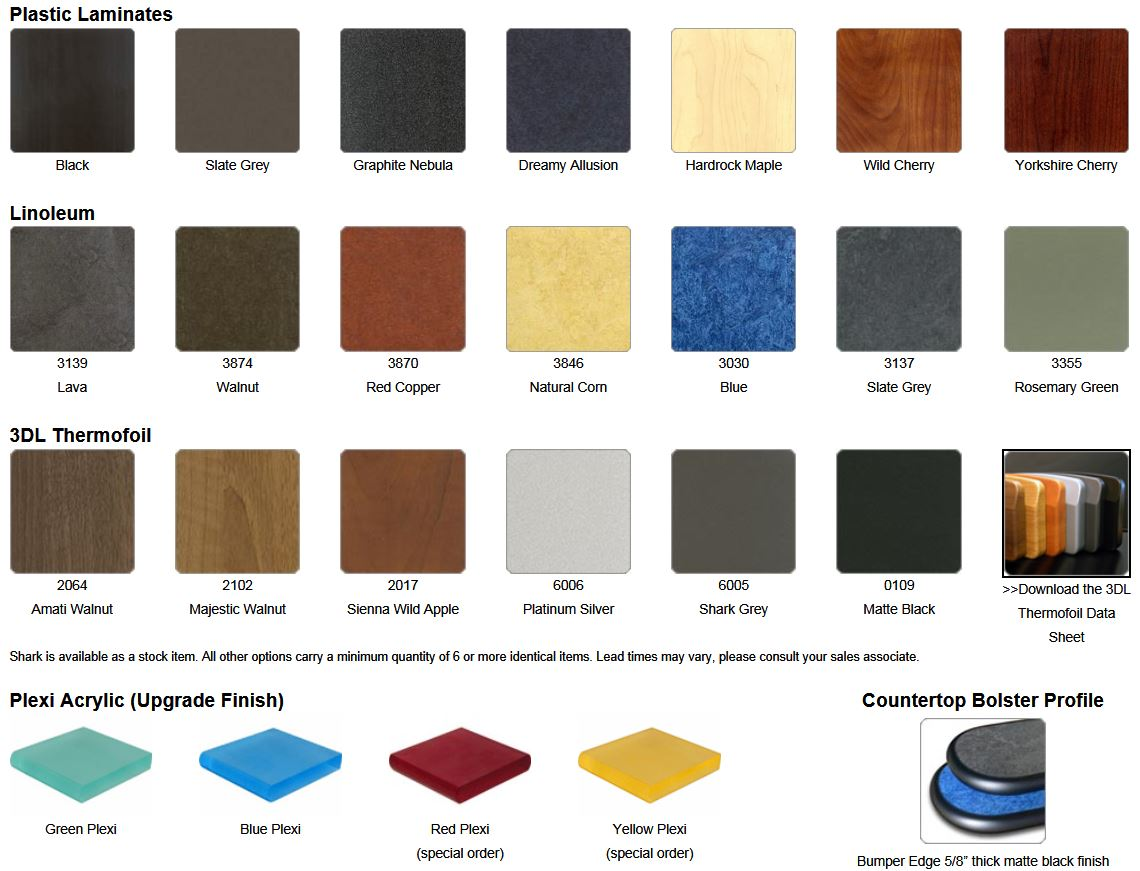 Laminate Options, review here, select above right.