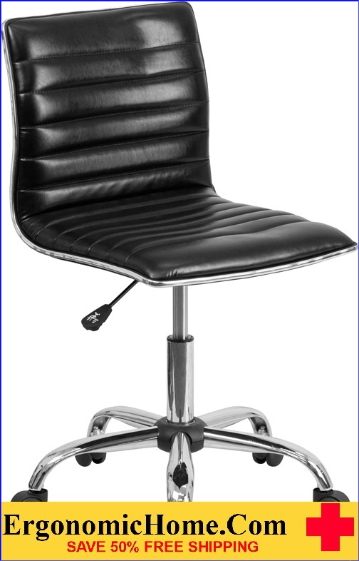 Ergonomic Home Low Back Armless Black Ribbed Designer Swivel Task Chair <b><font color=green>50% Off Read More Below...</font></b></font></b>