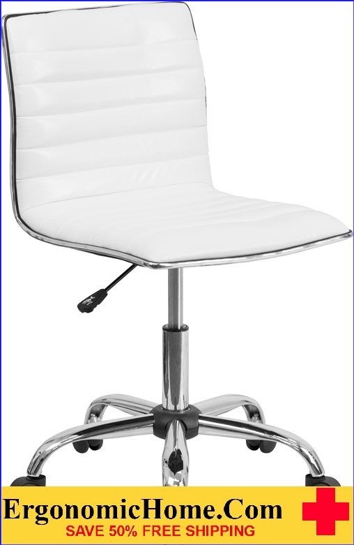 Ergonomic Home Low Back Armless White Ribbed Designer Swivel Task Chair <b><font color=green>50% Off Read More Below...</font></b></font></b>