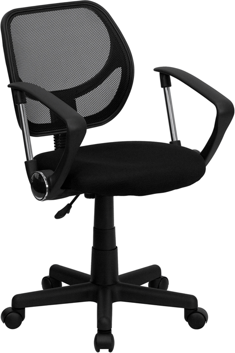 Low Back Black Mesh Swivel Task Chair with Arms