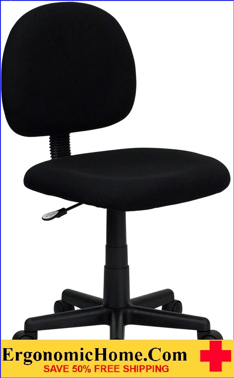 Ergonomic Home Low Back Black Fabric Swivel Task Chair <b><font color=green>50% Off Read More Below...</font></b></font></b>