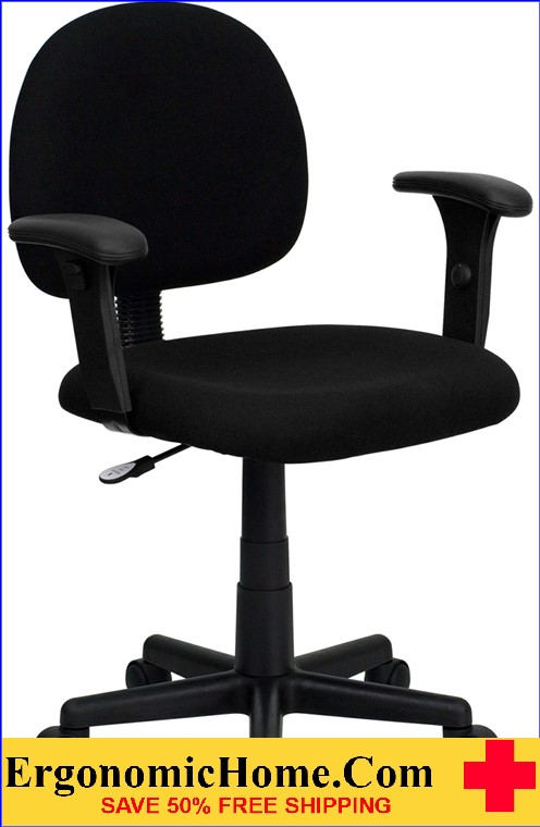 Ergonomic Home Low Back Black Fabric Swivel Task Chair with Height Adjustable Arms <b><font color=green>50% Off Read More Below...</font></b>
