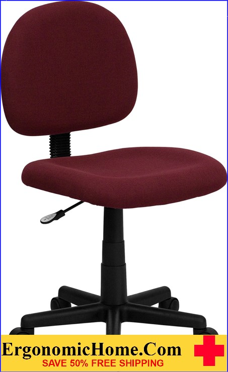 Ergonomic Home Low Back Burgundy Fabric Swivel Task Chair <b><font color=green>50% Off Read More Below...</font></b>
