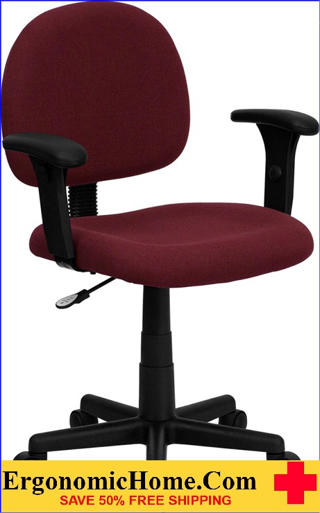 Ergonomic Home Low Back Burgundy Fabric Swivel Task Chair with Height Adjustable Arms <b><font color=green>50% Off Read More Below...</font></b>