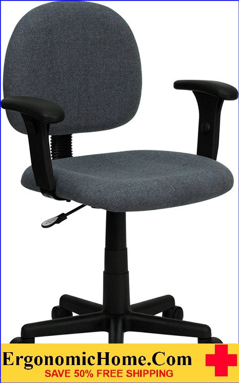 Ergonomic Home Low Back Gray Fabric Swivel Task Chair with Height Adjustable Arms <b><font color=green>50% Off Read More Below...</font></b></font></b>