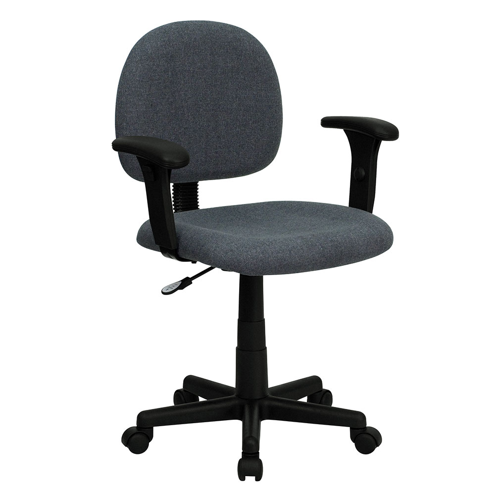 Ergonomic Home Low Back Gray Fabric Swivel Task Chair with Height Adjustable Arms <b><font color=green>50% Off Read More Below...</font></b>