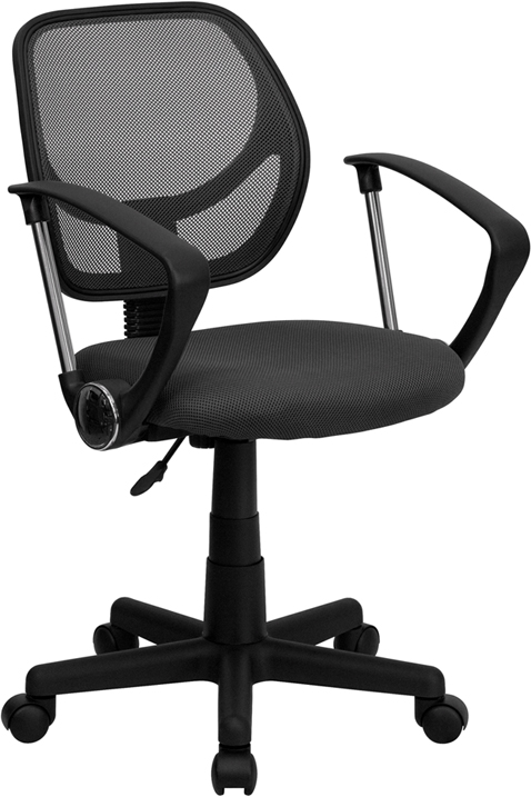 Low Back Gray Mesh Swivel Task Chair with Arms