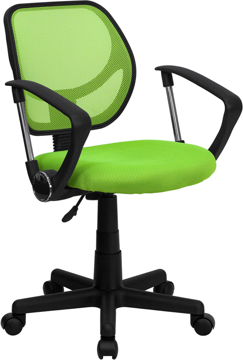 Low Back Green Mesh Swivel Task Chair with Arms