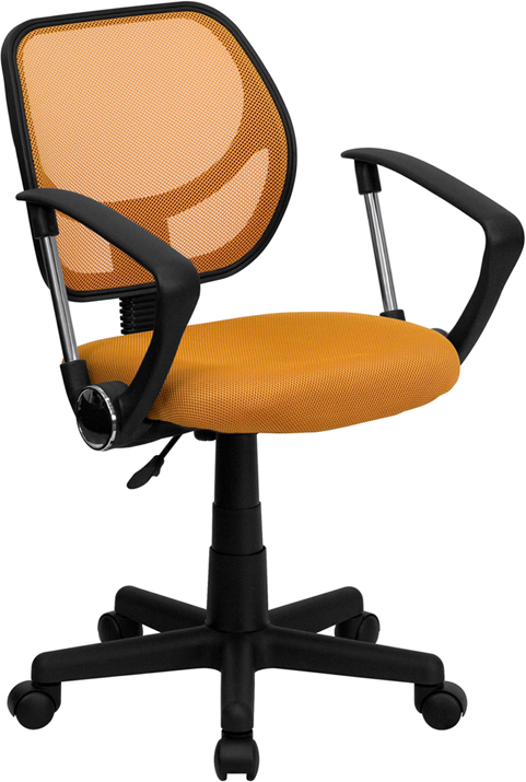 Low Back Orange Mesh Swivel Task Chair with Arms