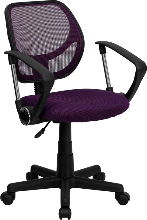 Low Back Purple Mesh Swivel Task Chair with Arms