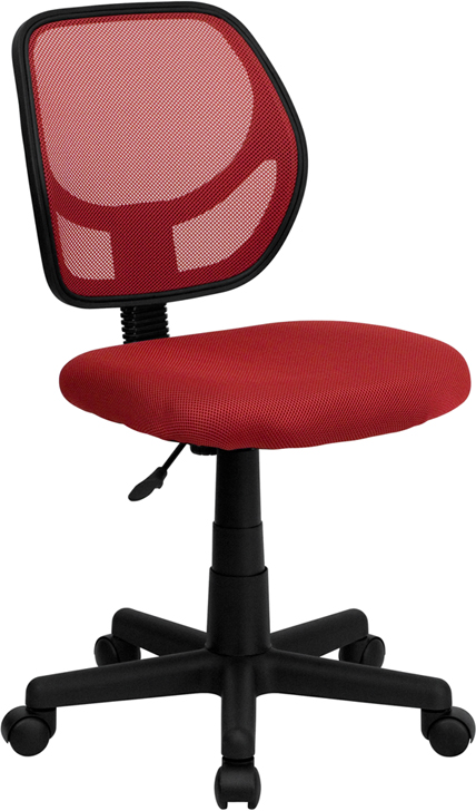 Low Back Red Mesh Swivel Task Chair