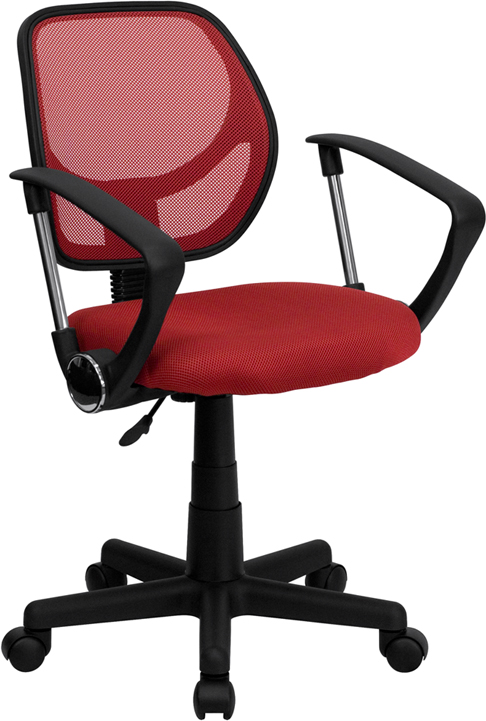 Low Back Red Mesh Swivel Task Chair with Arms