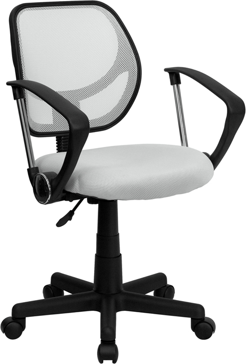 Low Back White Mesh Swivel Task Chair with Arms
