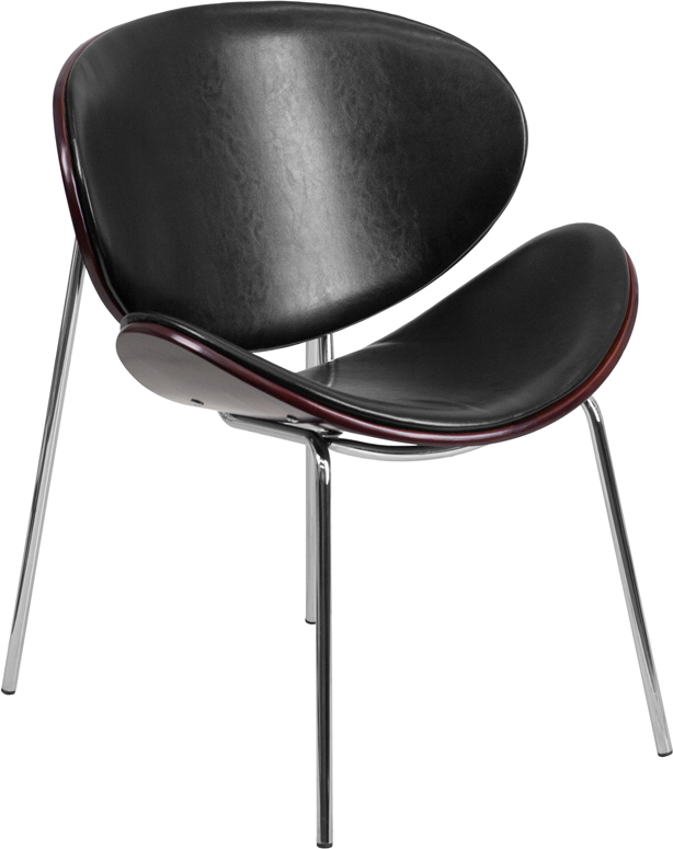 Ergonomic Home Mahogany Bentwood Leisure Reception Chair with Black Leather Upholstery SD-2268A-7-GG <b><font color=green>50% Off Read More Below...</font></b>