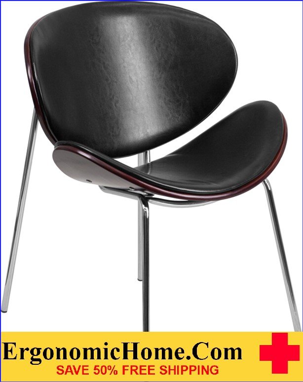 Ergonomic Home Mahogany Bentwood Leisure Reception Chair with Black Leather Upholstery EH-SD-2268A-7-GG .
