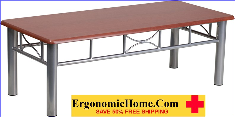 Ergonomic Home Mahogany Laminate Coffee Table with Silver Steel Frame <b><font color=green>50% Off Read More Below...</font></b></font></b>