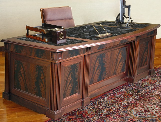THE FLAME EXECUTIVE DESK. HAND MADE CUSTOM OFFICE FURNITURE IN BEAUTIFUL FLAME CROTCH MAHOGANY. ONLY 8 REMAIN FOR 2020. FREE SHIPPING. ASSEMBLY INCLUDED. MADE IN USA.