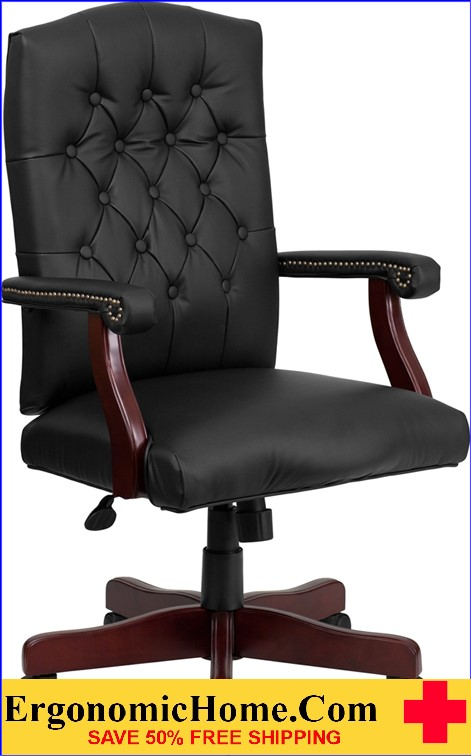 Ergonomic Home Martha Washington Black Leather Executive Swivel Office Chair <b><font color=green>50% Off Read More Below...</font></b>