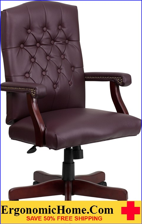 Ergonomic Home Martha Washington Burgundy Leather Executive Swivel Office Chair <b><font color=green>50% Off Read More Below...</font></b>