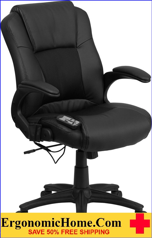 Ergonomic Home Massaging Black Leather Executive Swivel Office Chair <b><font color=green>50% Off Read More Below...</font></b>