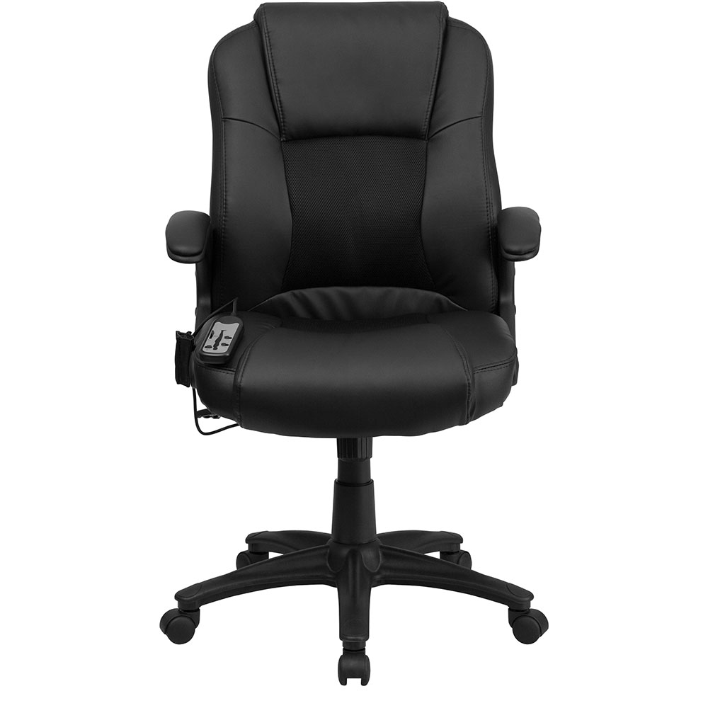 ergonomic home massaging black leather executive swivel office chair. Black Bedroom Furniture Sets. Home Design Ideas