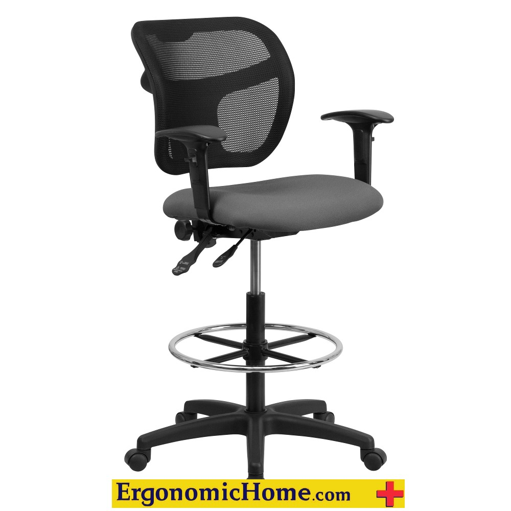 Mesh Drafting Chair Mid-Back w/Gray Fabric Seat and Height Adjustable Arms