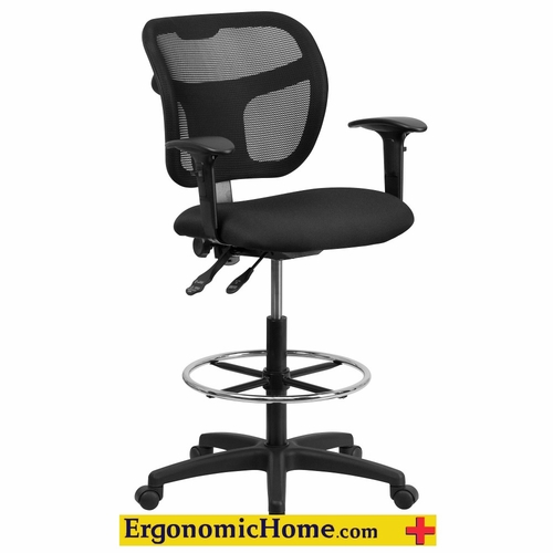 Ergonomic Home Mesh Drafting Chair w/Height Adjustable Arms Mid-Back EH-WL-A7671SYG-BK-AD-GG .