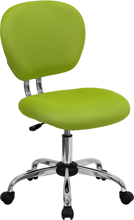 Mid-Back Apple Green Mesh Swivel Task Chair with Chrome Base
