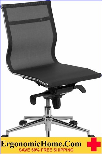 Ergonomic Home Mid-Back Armless Black Mesh Executive Swivel Office Chair with Synchro-Tilt Mechanism <b><font color=green>50% Off Read More Below...</font></b>