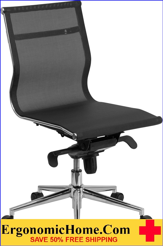 Ergonomic Home Mid-Back Armless Black Mesh Executive Swivel Office Chair with Synchro-Tilt Mechanism .