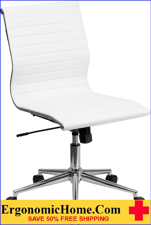 Ergonomic Home Mid-Back Armless White Ribbed Upholstered Leather Swivel Conference Chair <b><font color=green>50% Off Read More Below...</font></b>