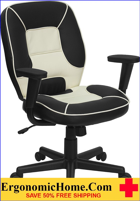 Ergonomic Home Mid-Back Black and Cream Vinyl Steno Executive Swivel Office Chair .