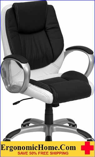 Ergonomic Home Mid-Back Black and White Leather Executive Swivel Office Chair <b><font color=green>50% Off Read More Below...</font></b>