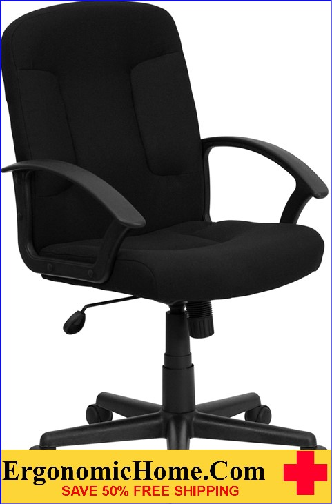 Ergonomic Home Mid-Back Black Fabric Executive Swivel Office Chair with Nylon Arms <b><font color=green>50% Off Read More Below...</font></b>