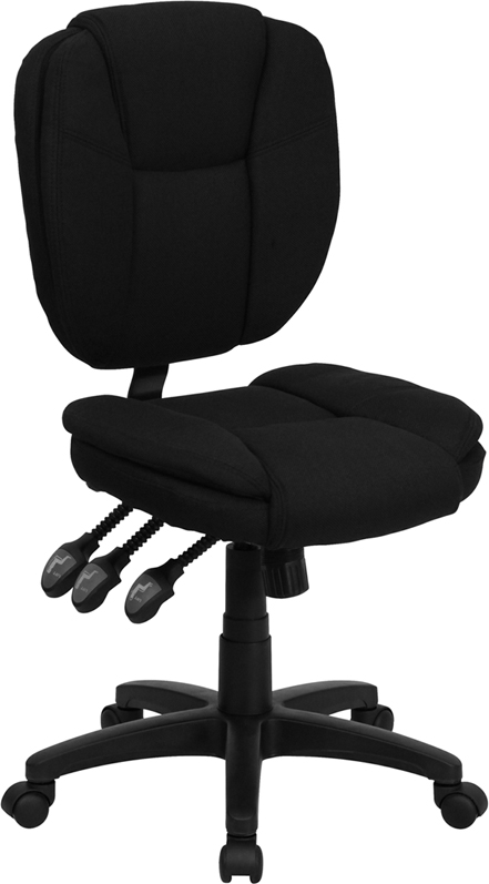 Ergonomic Home Mid-Back Black Fabric Multi-Functional Swivel Task Chair <b><font color=green>50% Off Read More Below...</font></b>