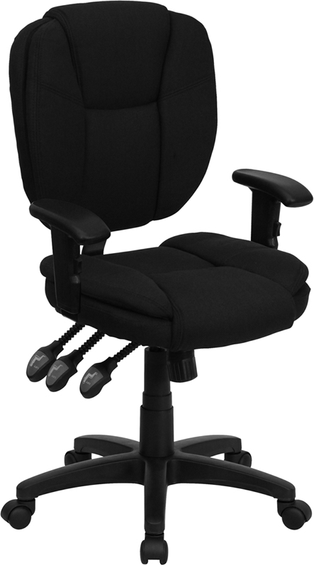 Ergonomic Home Mid-Back Black Fabric Multi-Functional Swivel Task Chair with Height Adjustable Arms <b><font color=green>50% Off Read More Below...</font></b>