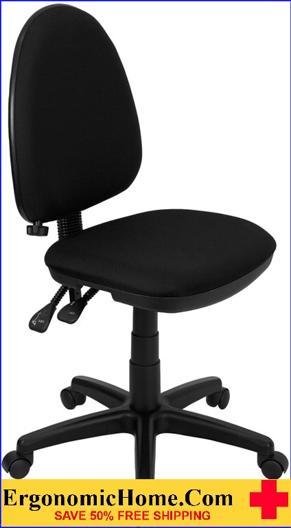 Ergonomic Home Mid-Back Black Fabric Multi-Functional Swivel Task Chair with Adjustable Lumbar Support <b><font color=green>50% Off Read More Below...</font></b></font></b>