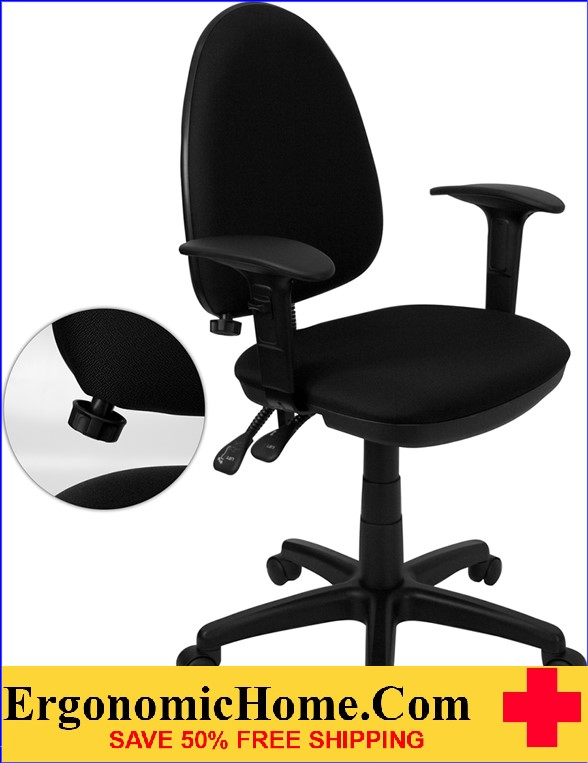 Ergonomic Home Mid-Back Black Fabric Multi-Functional Swivel Task Chair with Adjustable Lumbar Support and Height Adjustable Arms <b><font color=green>50% Off Read More Below...</font></b>