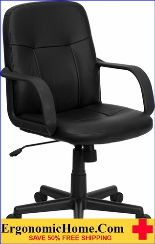 Ergonomic Home Mid-Back Black Glove Vinyl Executive Swivel Office Chair <b><font color=green>50% Off Read More Below...</font></b></font></b>