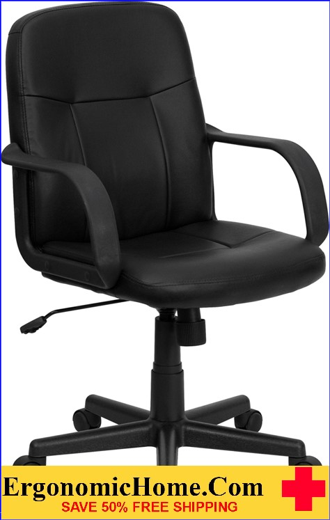 Ergonomic Home Mid-Back Black Glove Vinyl Executive Swivel Office Chair <b><font color=green>50% Off Read More Below...</font></b>